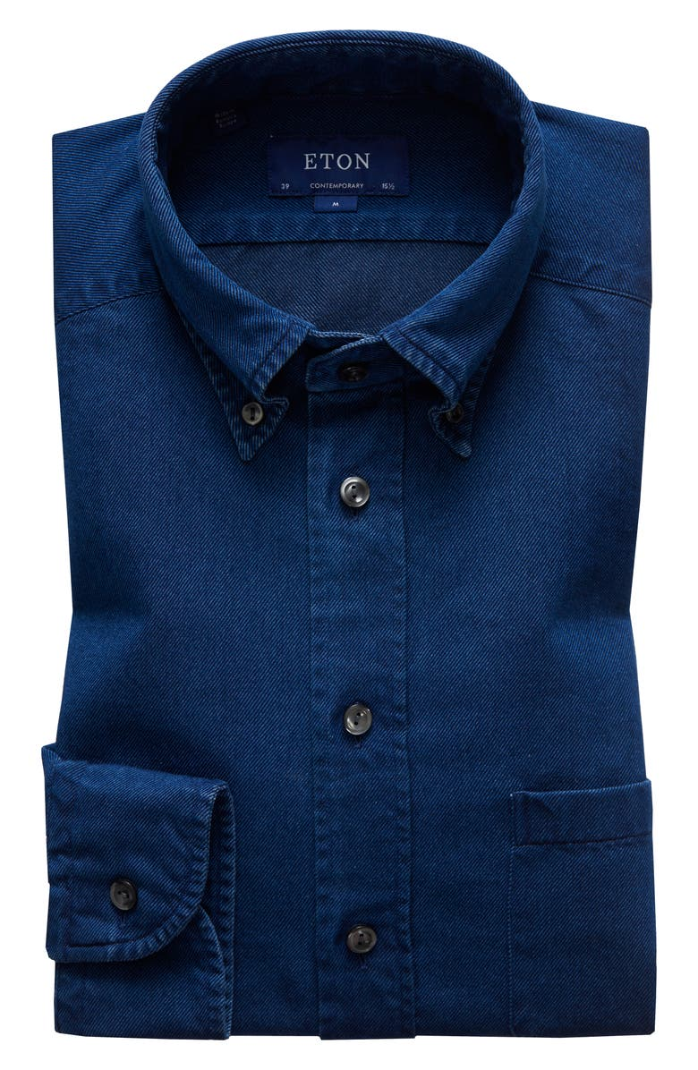 ETON Soft Casual Line Contemporary Fit Chambray Shirt, Main, color, BLUE