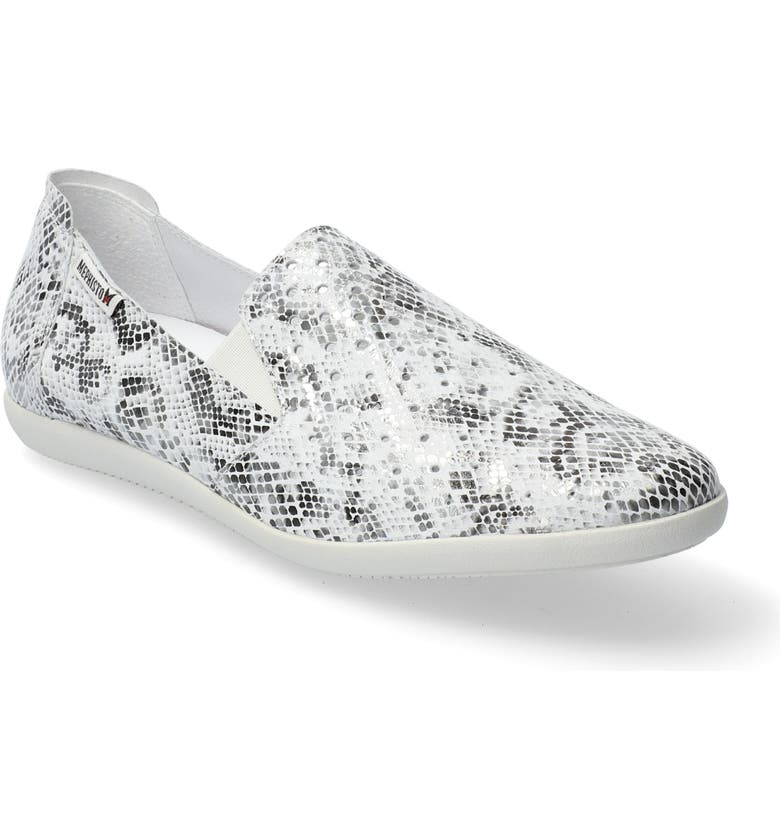 MEPHISTO Korie Perforated Slip-On, Main, color, STONE REPTILE PRINT LEATHER