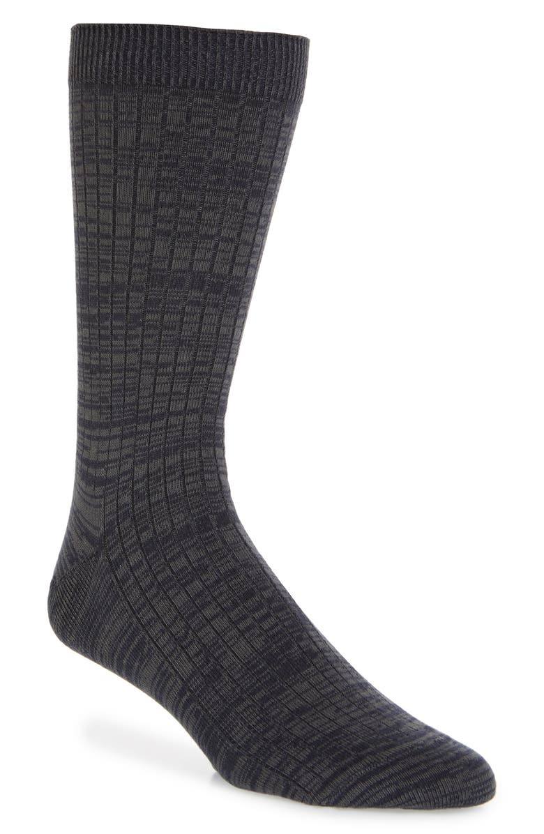 1901 Space Dye Ribbed Socks, Main, color, NAVY/ GREY