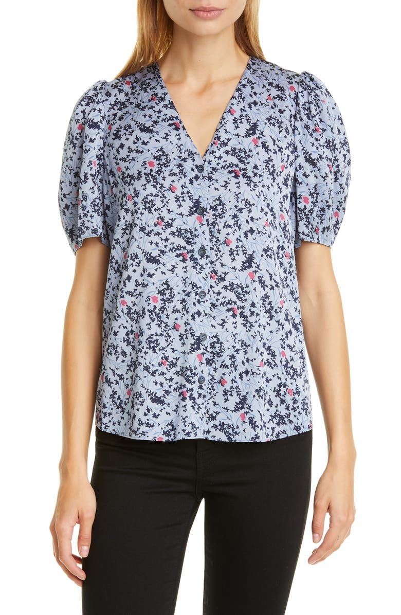 NORDSTROM SIGNATURE Floral Puff Sleeve Stretch Silk Top, Main, color, 450