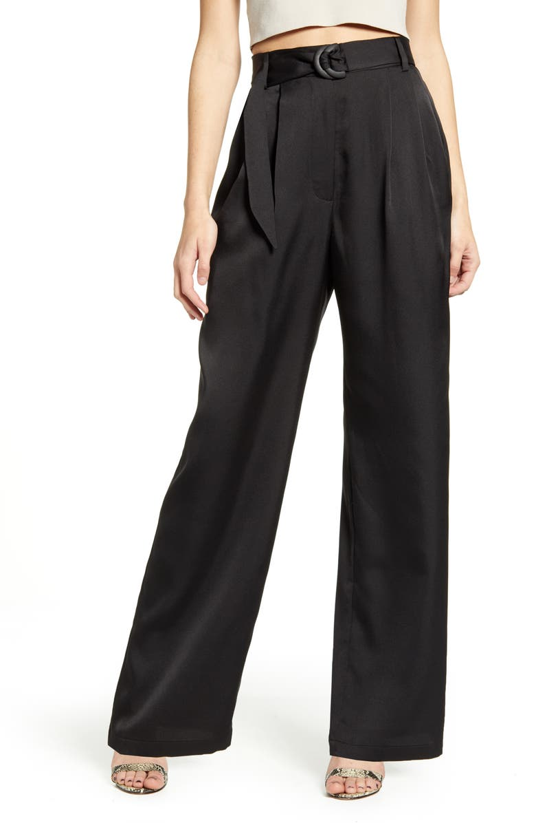 WAYF Ellyn Belted Pleated Trousers, Main, color, BLACK