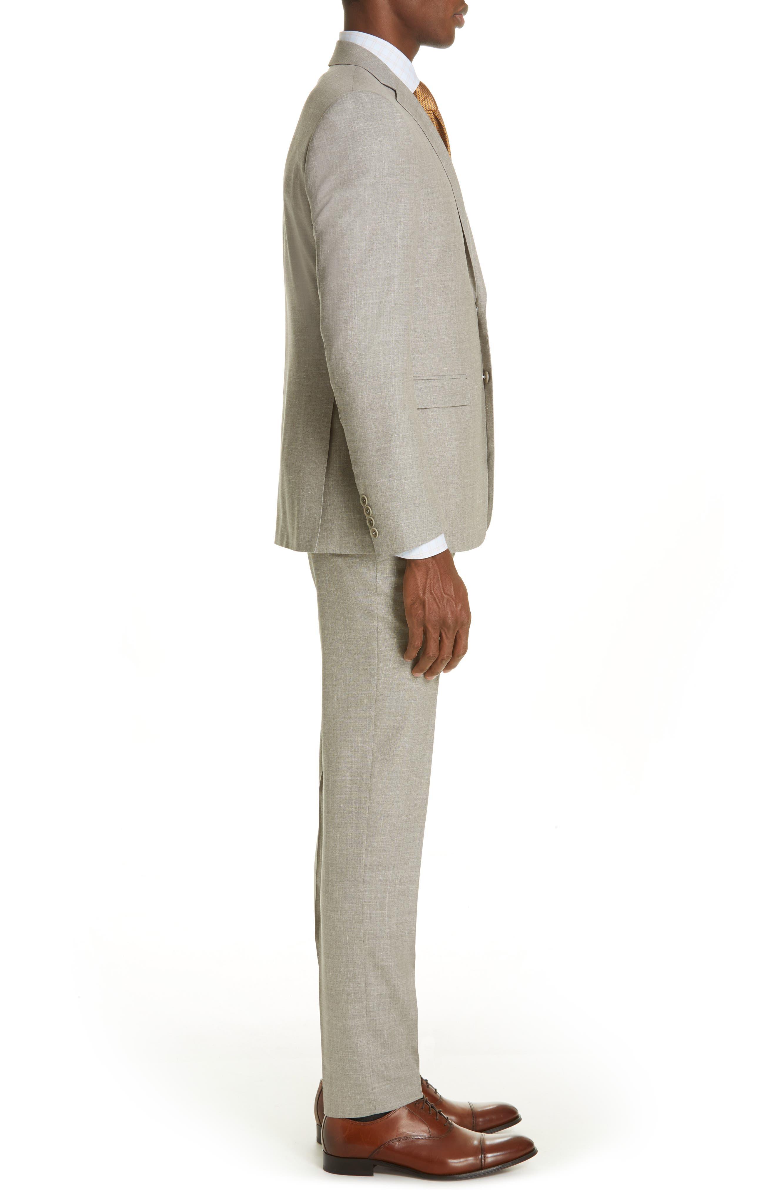 ,                             Milano Trim Fit Solid Wool Blend Suit,                             Alternate thumbnail 3, color,                             BEIGE