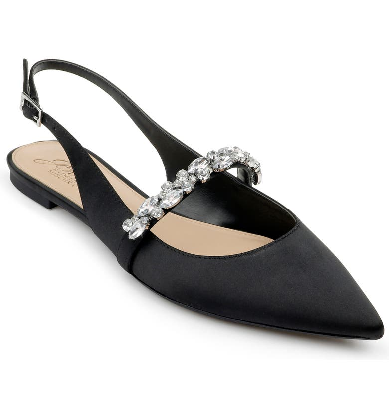 JEWEL BADGLEY MISCHKA Bambi Slingback Skimmer Flat, Main, color, BLACK SATIN
