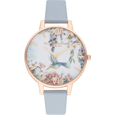 Olivia Burton Painterly Prints Faux Leather Strap Watch,