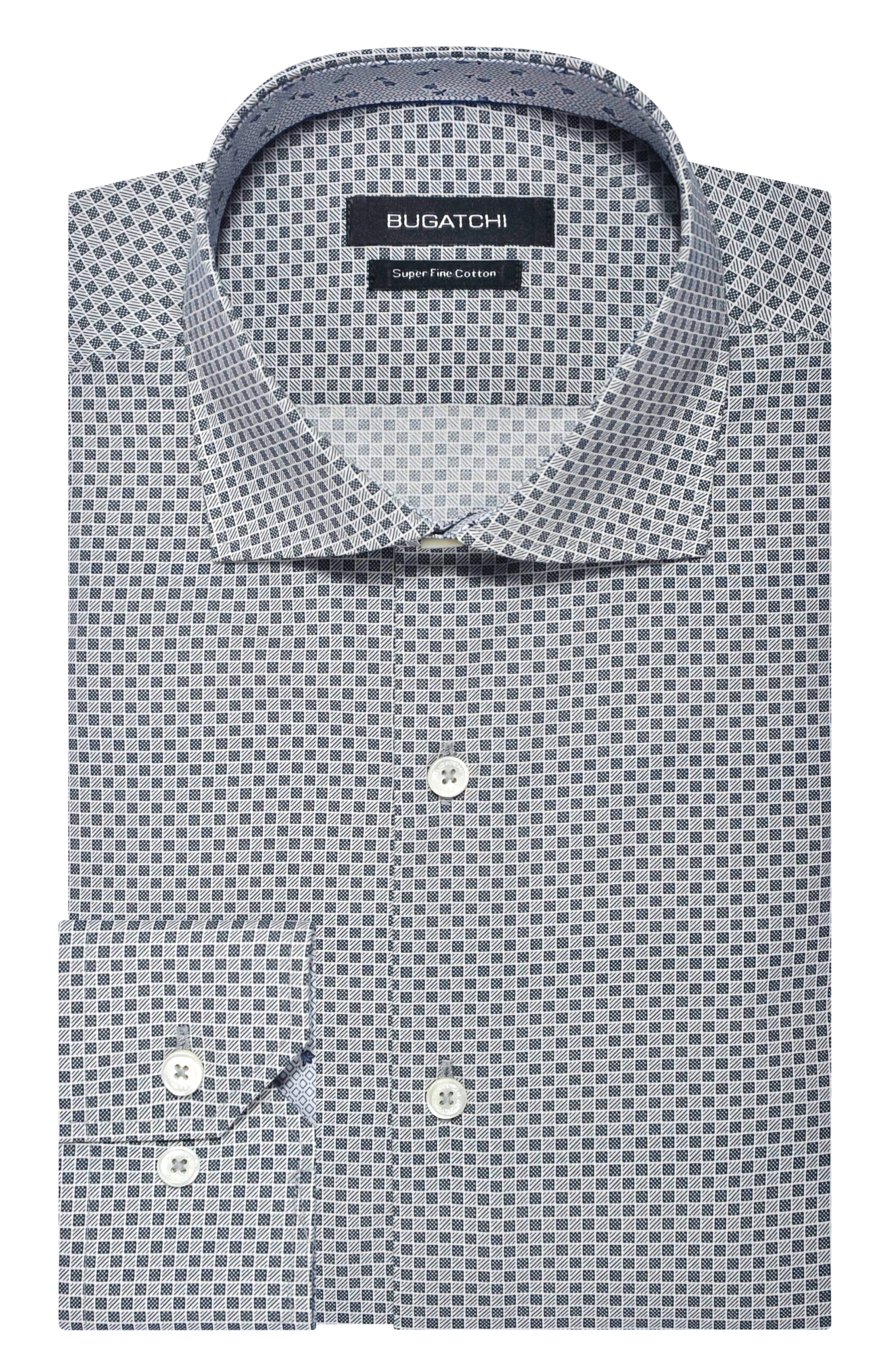 Handsome checks define a versatile dress shirt featuring charming contrast trim lining the spread collar and mitered, adjustable button cuffs. Style Name: Bugatchi Trim Fit Check Dress Shirt. Style Number: 5946122. Available in stores.
