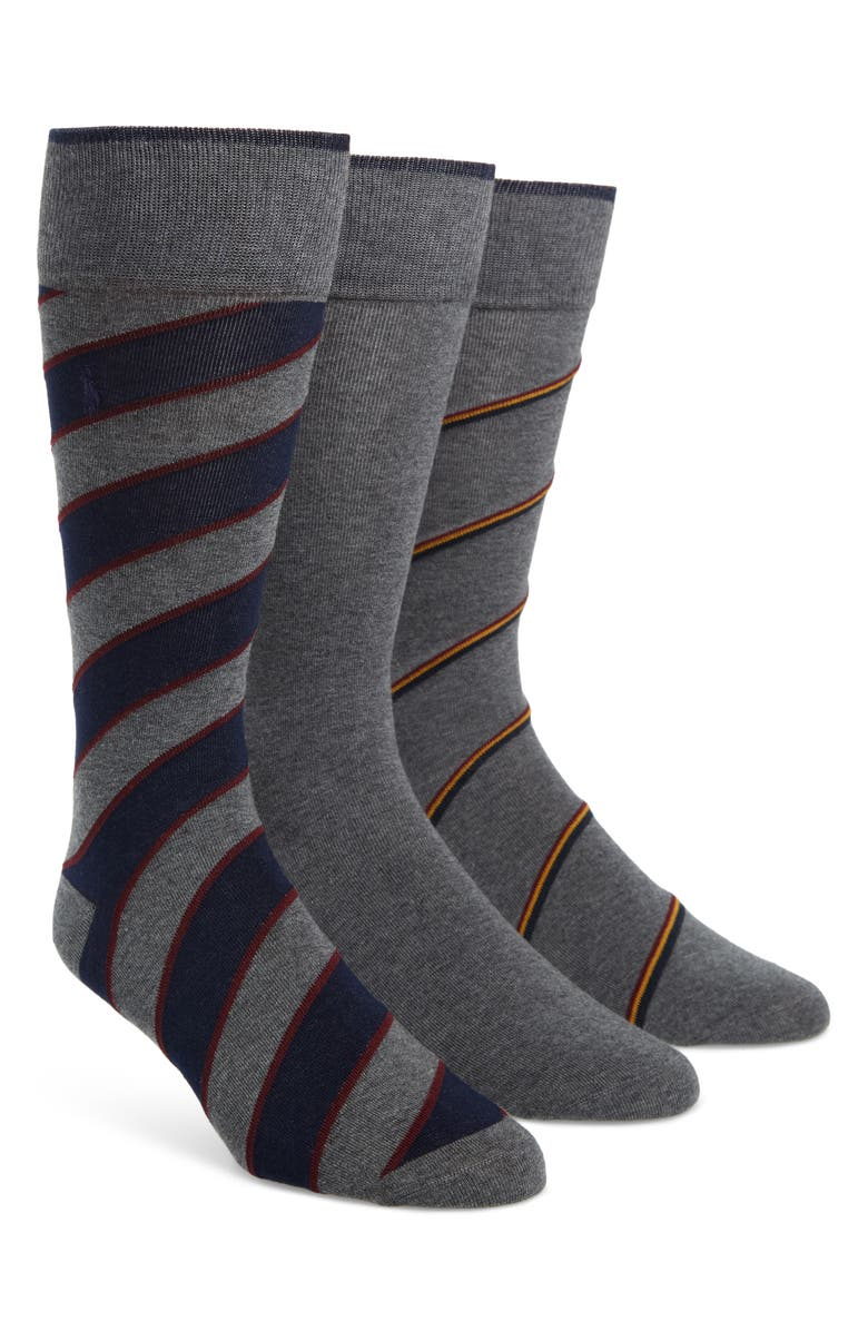 POLO RALPH LAUREN 3-Pack Socks, Main, color, GREY HEATHER