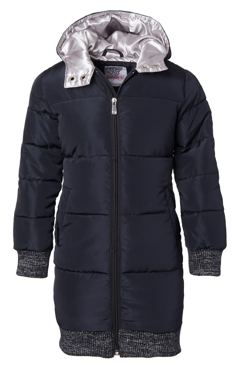 KENSIE GIRL Long Hooded Puffer Jacket, Main, color, BLACK