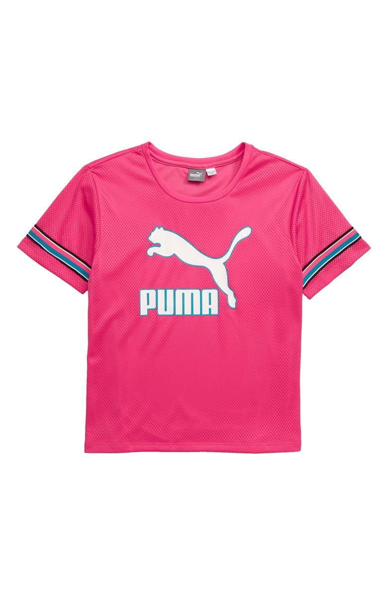 PUMA Logo Mesh Shirt, Main, color, 500