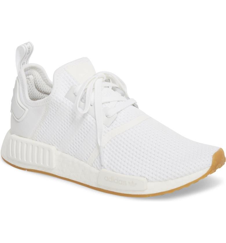 ADIDAS Originals NMD_R1 Sneaker, Main, color, WHITE/ WHITE/ GUM