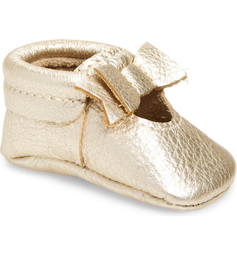 FRESHLY PICKED Bow Moccasin, Main, color, PLATINUM