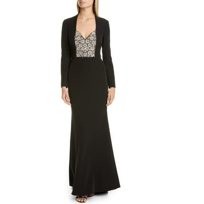 Badgley Mischka Long Sleeve Embellished Gown, Black
