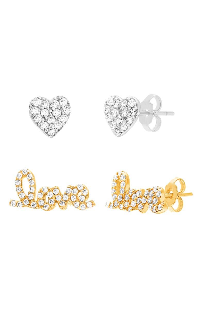 LESA MICHELE Lesa Michelle Set of 2 Earrings, Main, color, YELLOW GOLD