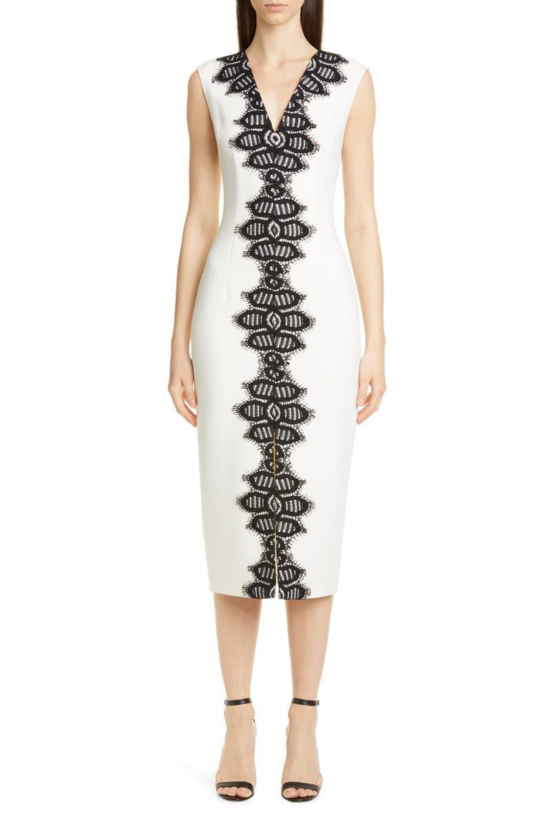 Lela Rose Lace Detail Stretch Wool Midi Sheath Dress