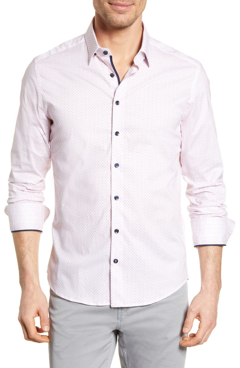 STONE ROSE Button-Up Performance Shirt, Main, color, PINK
