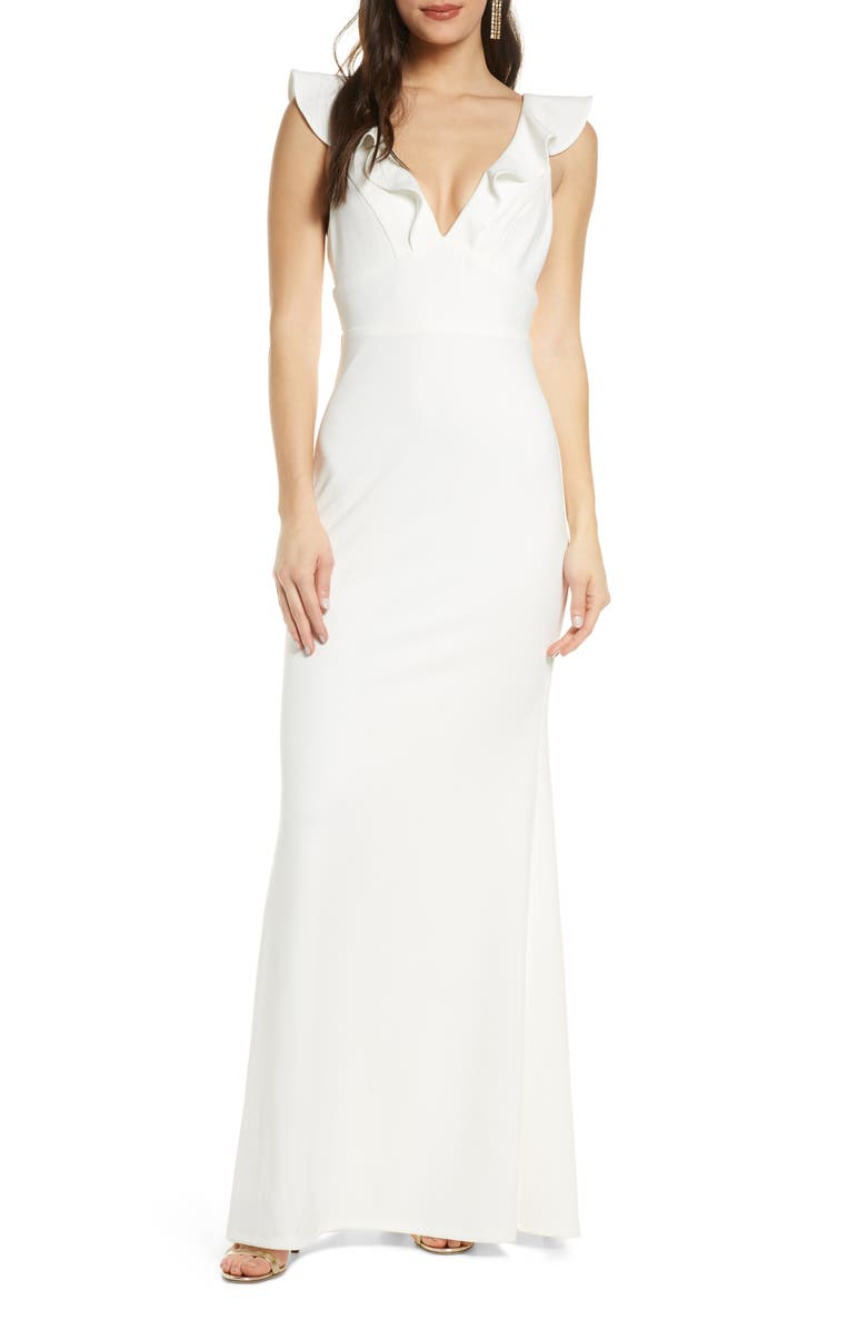 LULUS Perfect Opportunity Ruffle Mermaid Gown, Main, color, WHITE