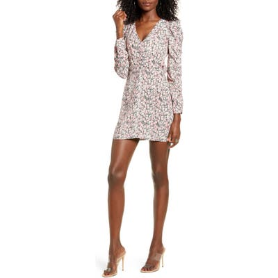 Leith Floral Shirred Long Sleeve Dress, Pink