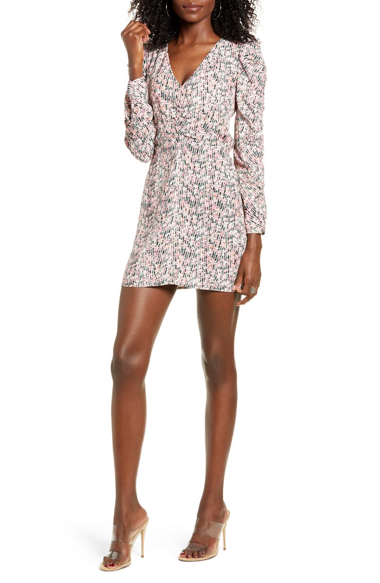 LEITH Floral Shirred Long Sleeve Dress, Main, color, PINK SMOKE TOSSED FLORAL