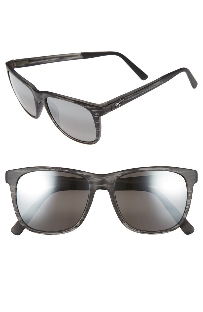 MAUI JIM Tail Slide 53mm Polarized Sunglasses, Main, color, MATTE GREY STRIPE