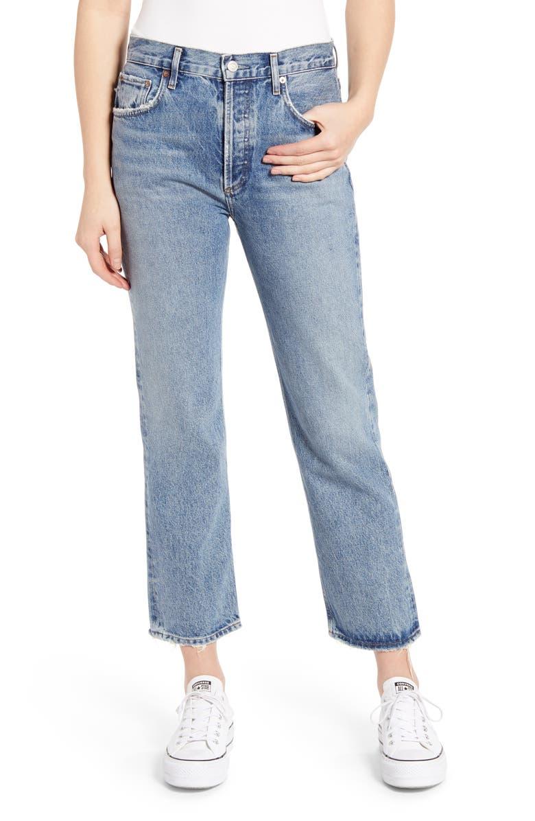 AGOLDE Ripley High Waist Ankle Straight Leg Jeans, Main, color, 401