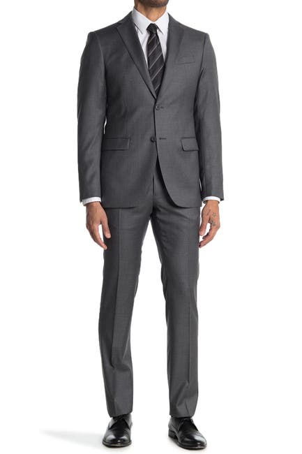 Image of John Varvatos Collection Nested Grey Solid Two Button Notch Lapel Wool Suit