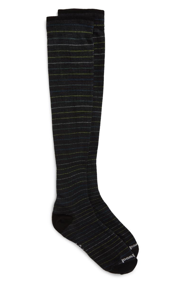 SMARTWOOL Compression Cruisin' Along Stripe Socks, Main, color, BLACK