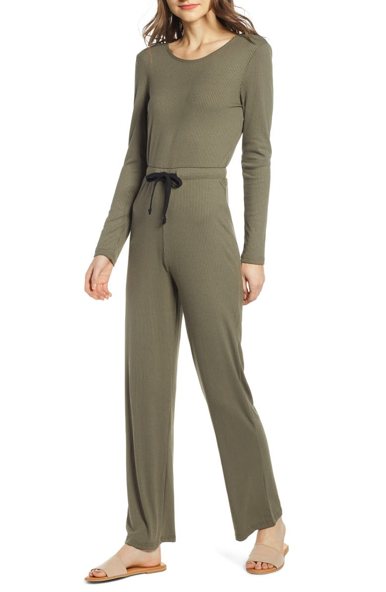NOISY MAY Ribbed Jumpsuit, Main, color, KALAMATA
