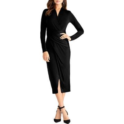 Rachel Rachel Roy Bret Long Sleeve Faux Wrap Dress, Black