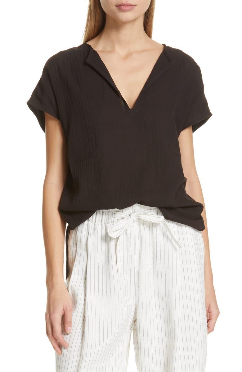 VINCE Seam Detail Cotton Split Neck Cotton Top, Main, color, BLACK