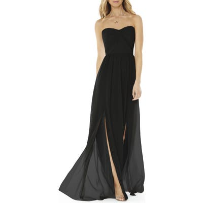 Social Bridesmaids Strapless Georgette Gown, Black