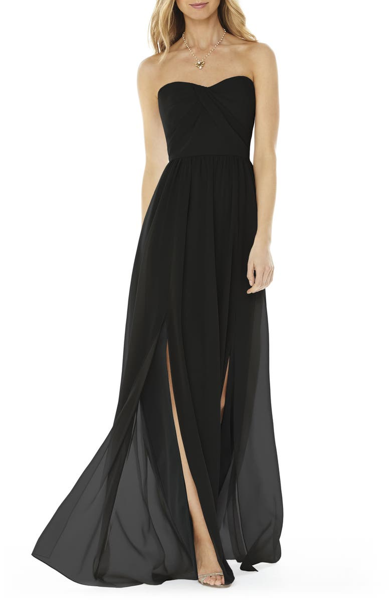 SOCIAL BRIDESMAIDS Strapless Georgette Gown, Main, color, BLACK