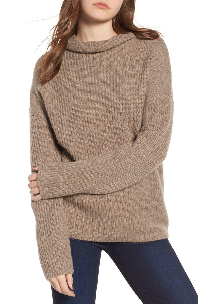 CHELSEA28 Rib Funnel Neck Sweater, Main, color, TAN PORTOBELLO HEATHER