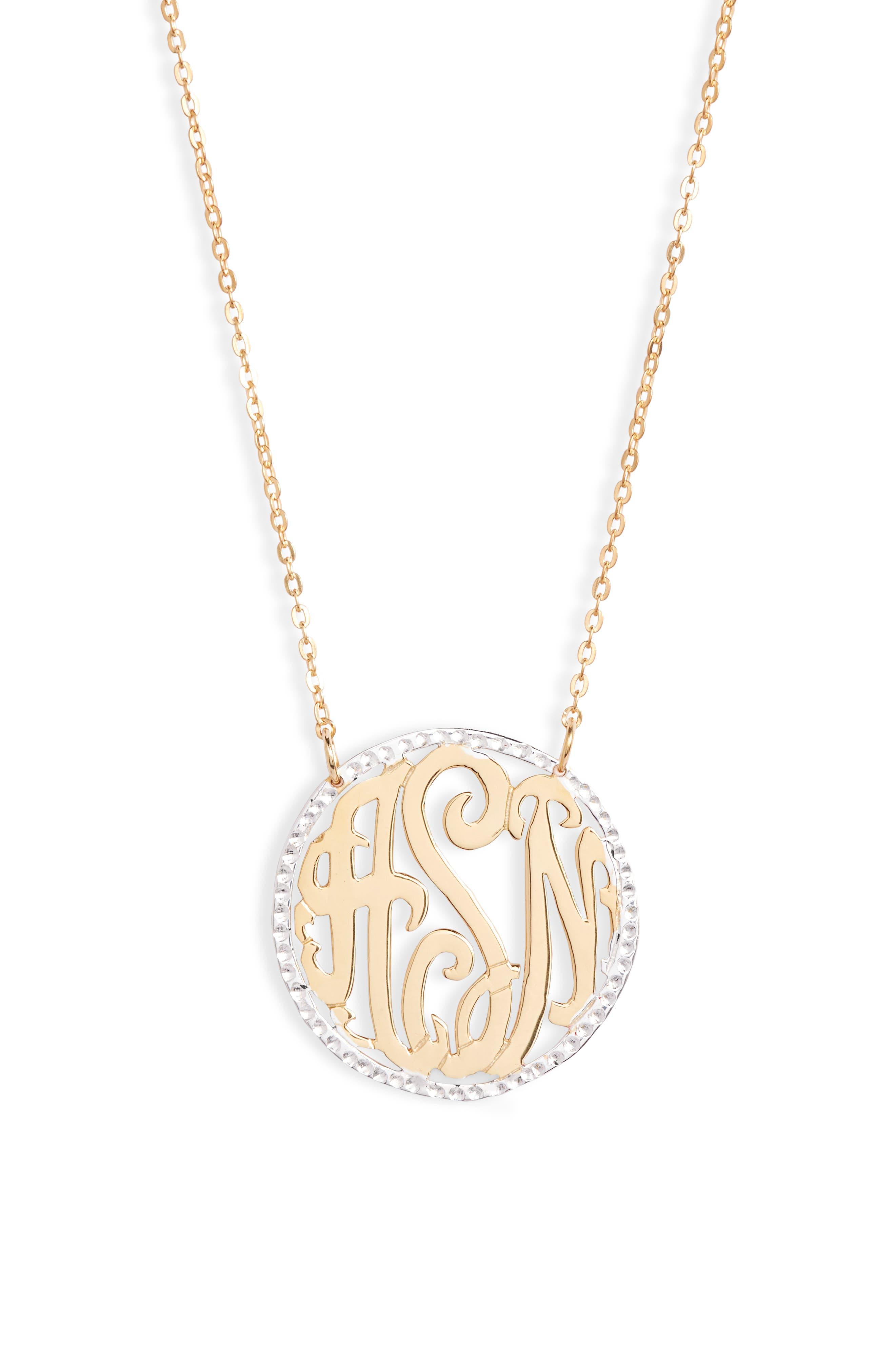 Women's Argento Vivo Personalized Three Initial Pendant Necklace