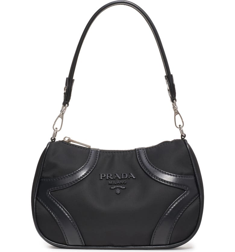 PRADA Nylon & Leather Baguette Bag, Main, color, 001