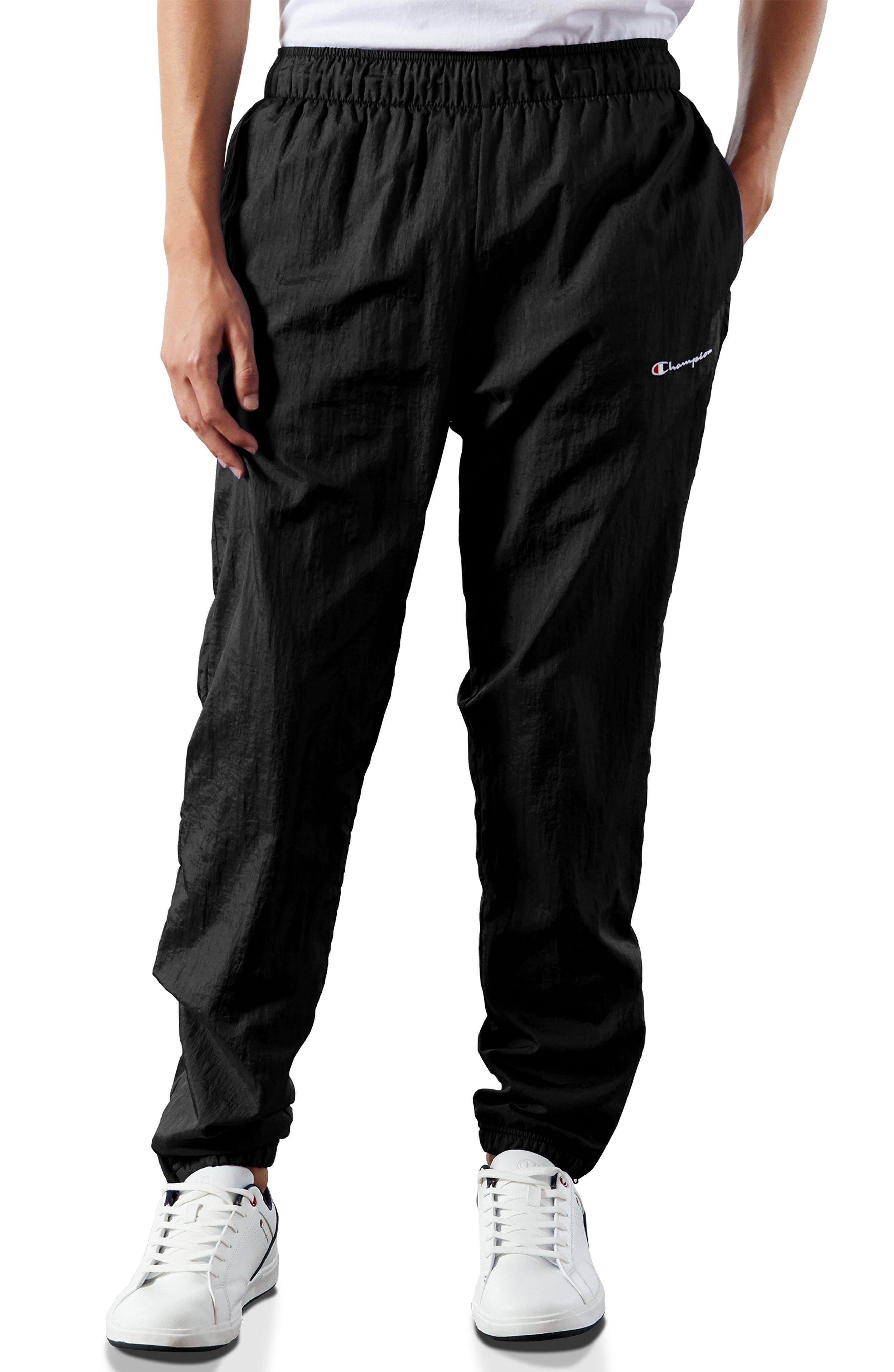 ,                             Nylon Warm-Up Pants,                             Main thumbnail 1, color,                             BLACK/ SILVER/ WHITE