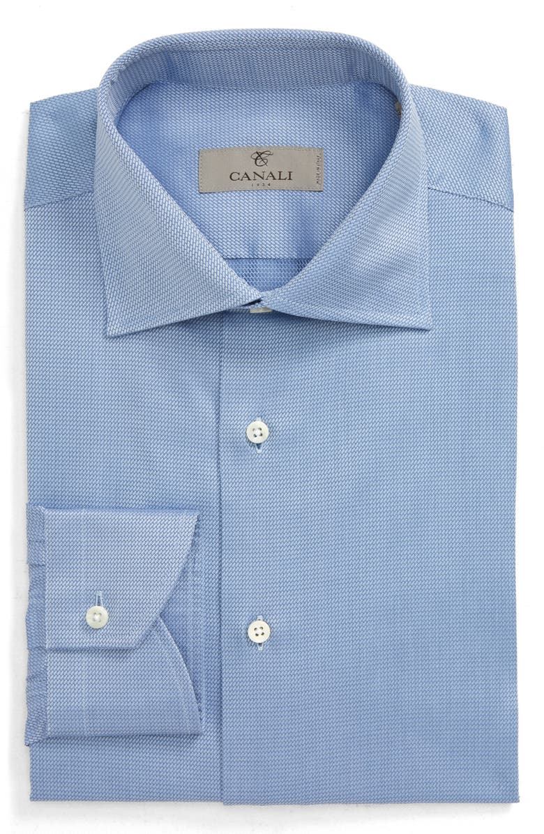 CANALI Regular Fit Solid Dress Shirt, Main, color, BLUE