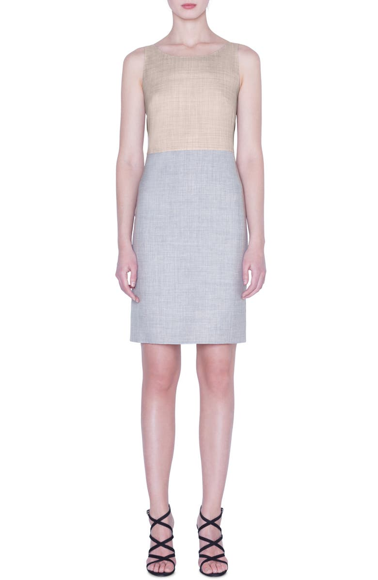 AKRIS Reversible Two-Tone Double Face Wool & Silk Dress, Main, color, 814-SILVER-BIRCH