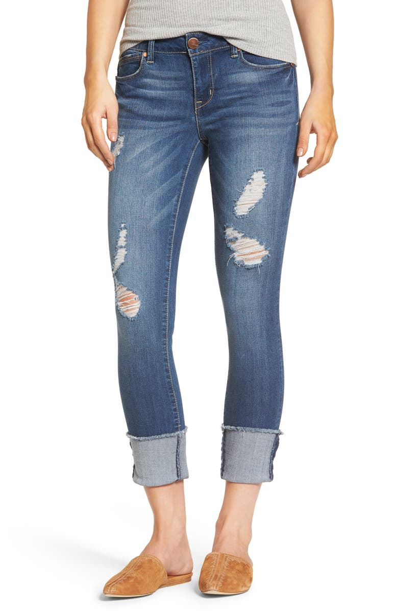 1822 DENIM Cuffed Crop Skinny Jeans, Main, color, IRENE