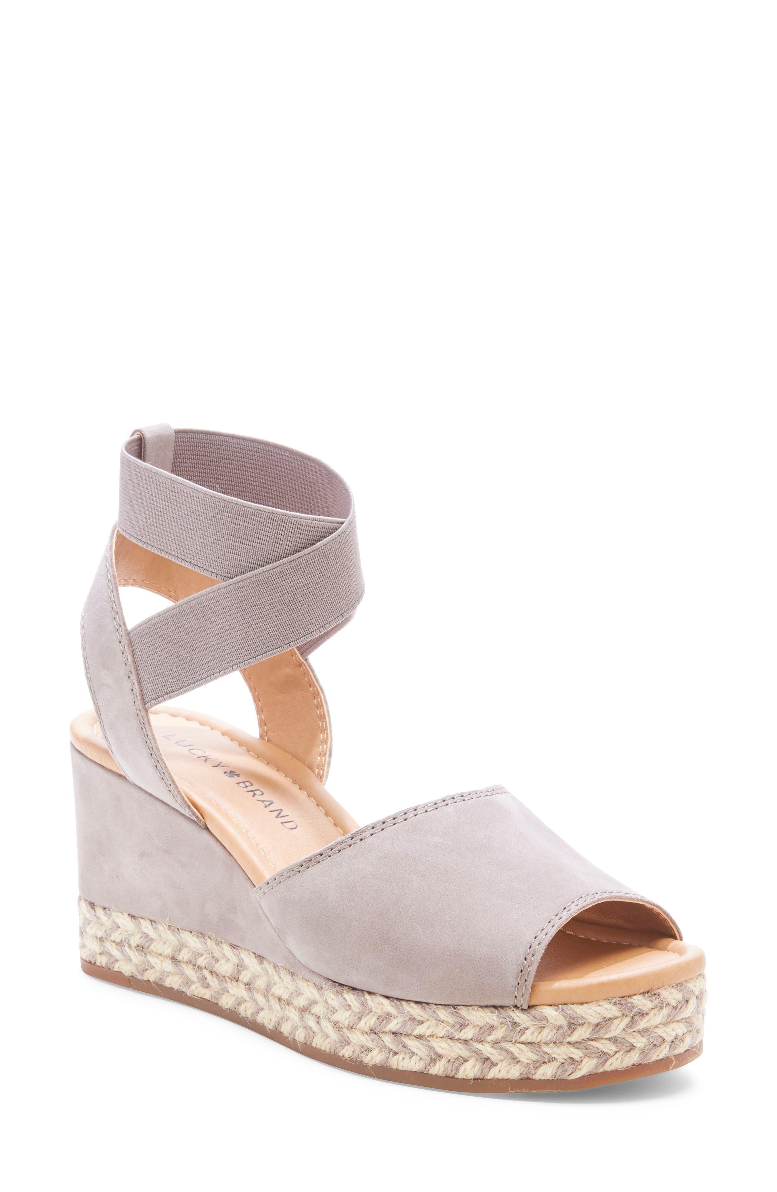 Lucky Brand Bettanie Espadrille Wedge Sandal- Grey