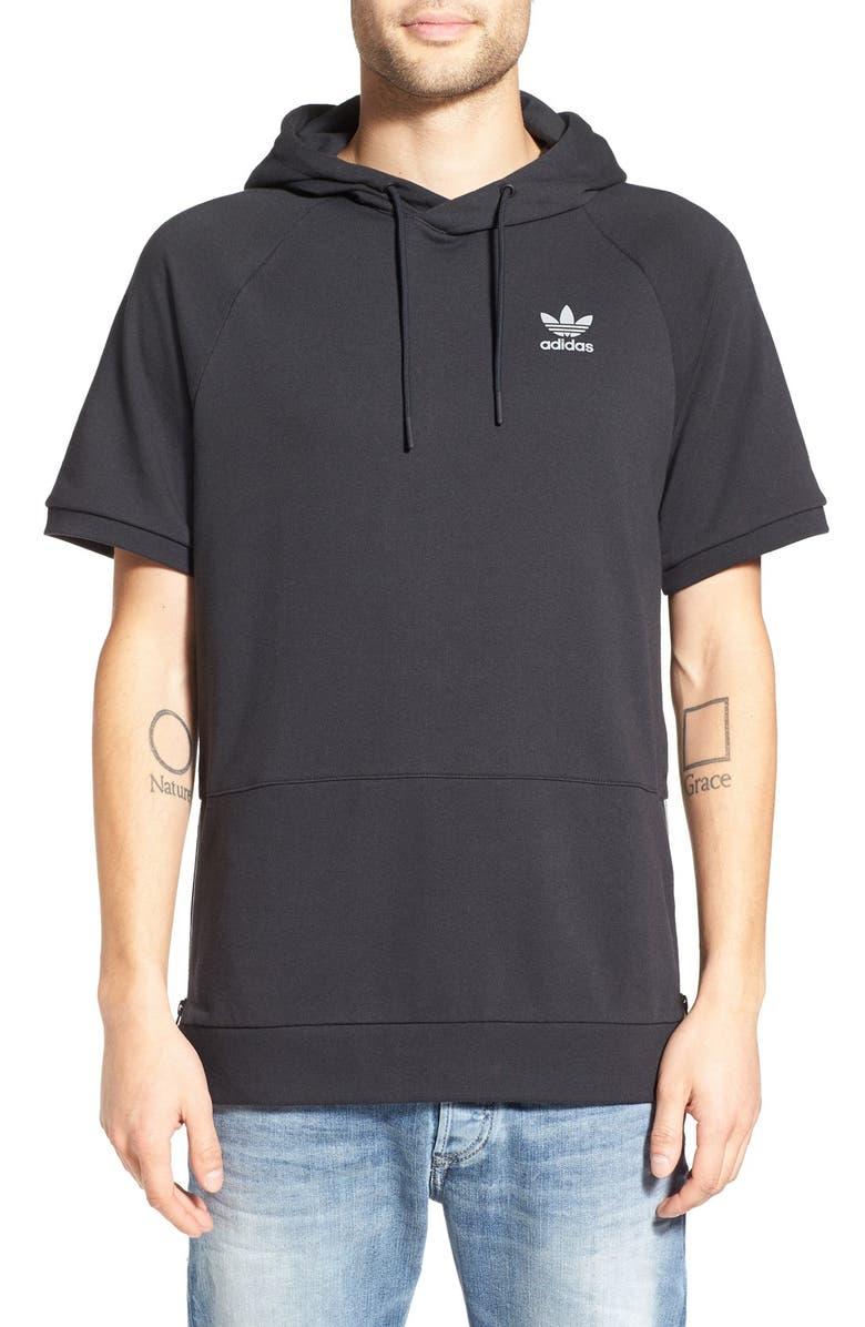 ADIDAS ORIGINALS 'Sport Luxe' Short Sleeve Hoodie, Main, color, 001