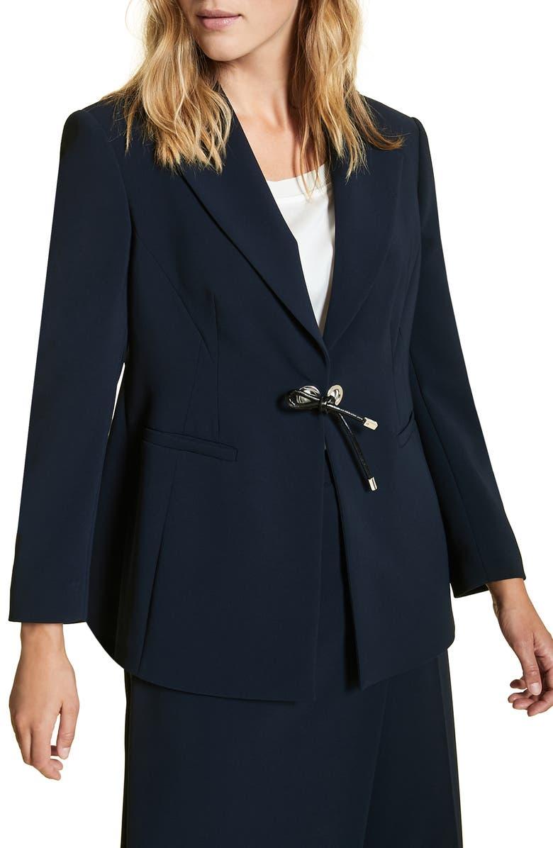MARINA RINALDI Carnet Tie Front Jacket, Main, color, NAVY BLUE