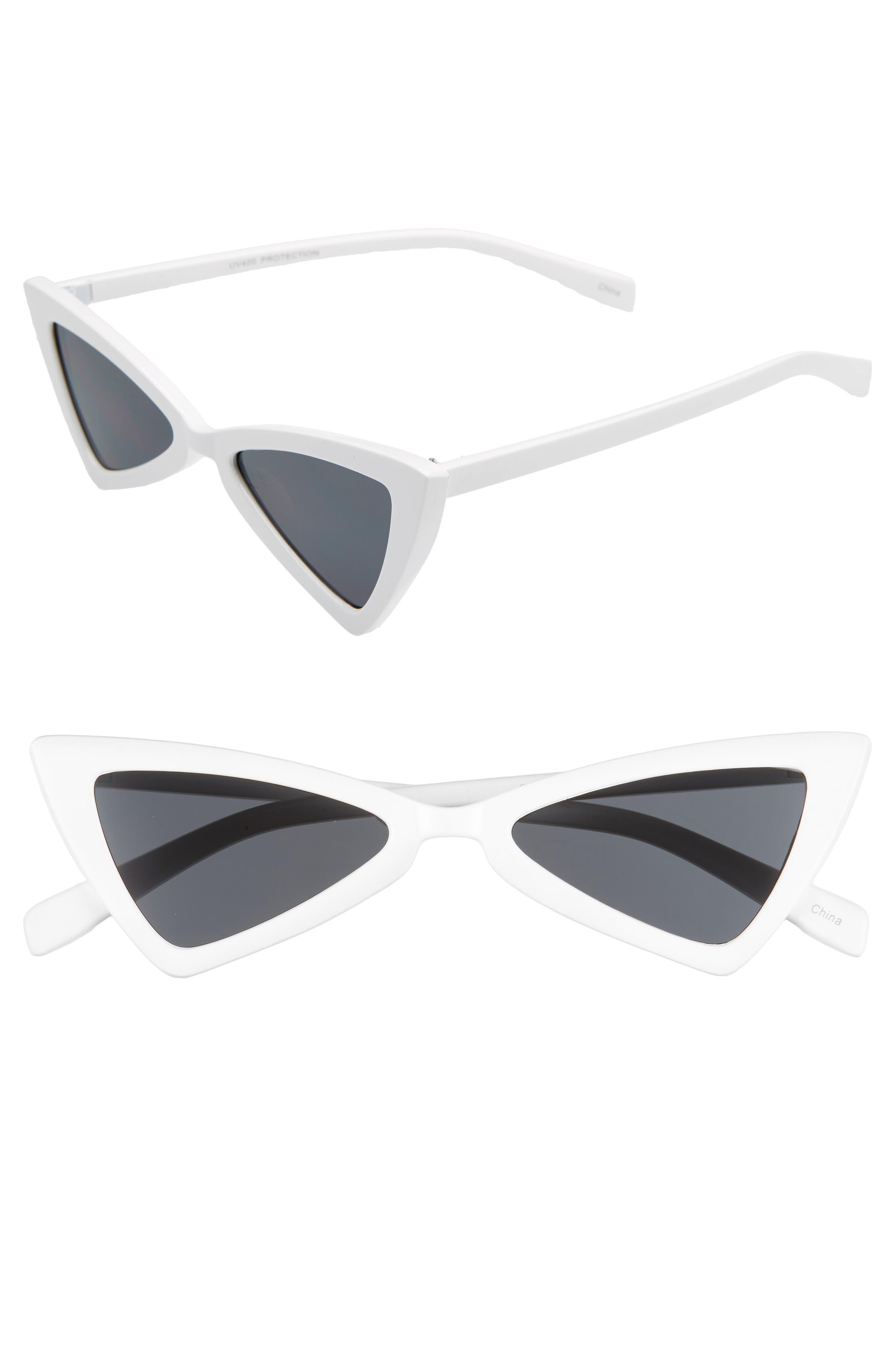 '80s Triangle Sunglasses, Main, color, WHITE