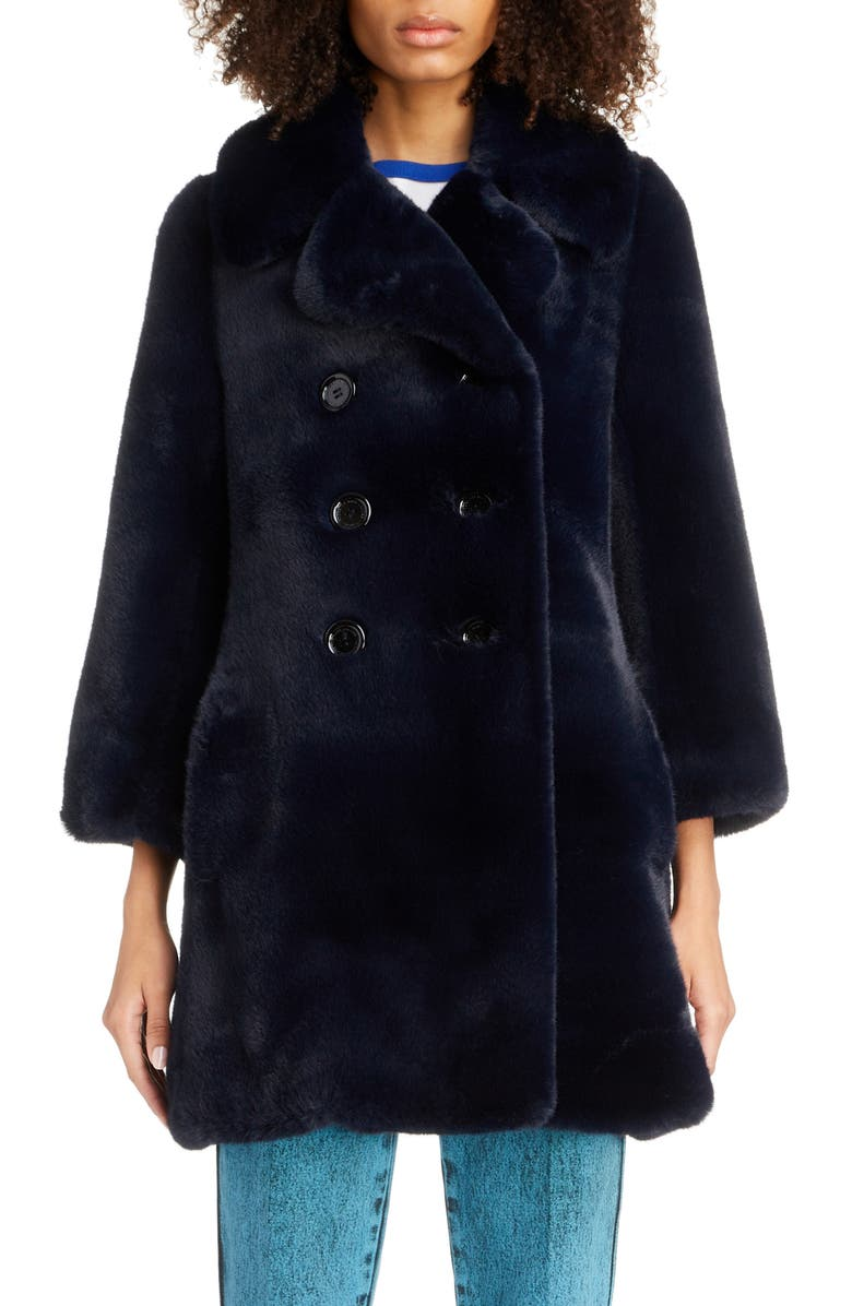 THE MARC JACOBS Sophia Loves the Faux Fur Peacoat, Main, color, NAVY