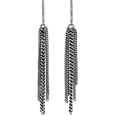 Sheryl Lowe Bar Fringe Earrings With Pave Diamonds