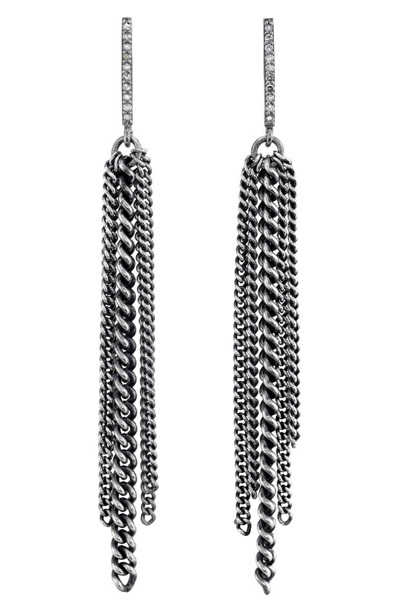 SHERYL LOWE Bar Fringe Earrings with Pavé Diamonds, Main, color, STERLING SILVER
