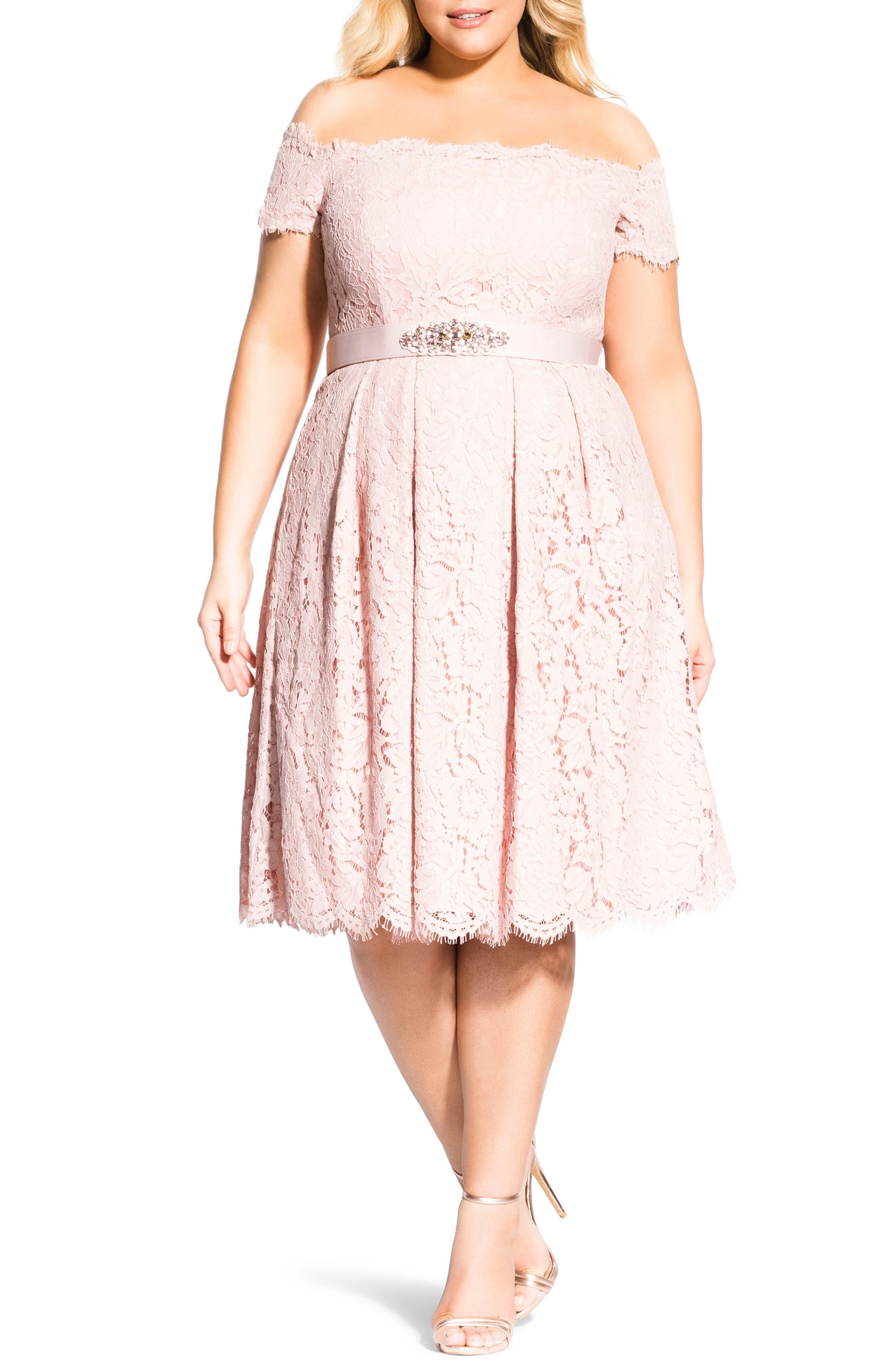 Plus Size City Chic Off The Shoulder Lace Dreams Dress, Pink