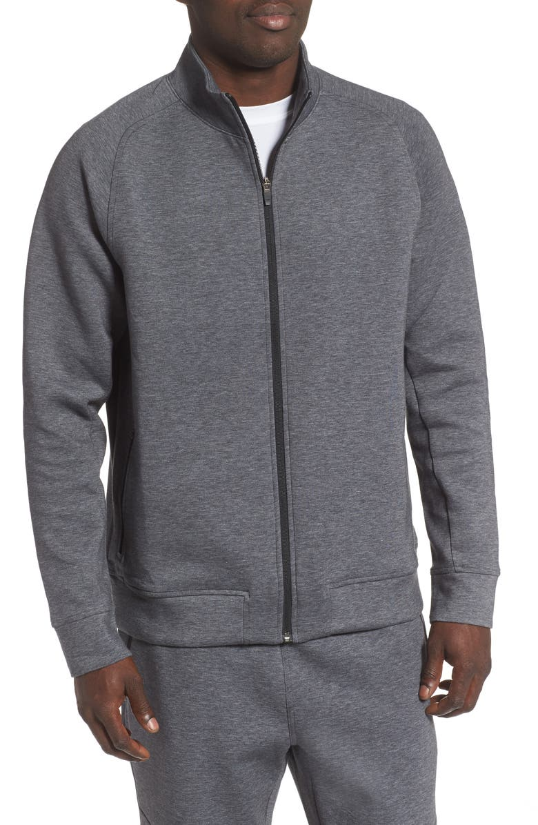 ZELLA Heavy Fleece Zip Jacket, Main, color, GREY OBSIDIAN MELANGE