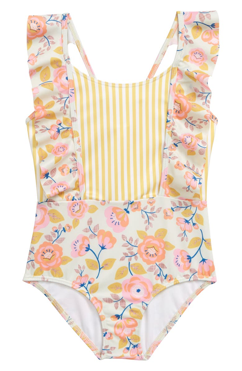 HEART AND HARMONY Wallflower Ruffle One-Piece Swimsuit, Main, color, MULTI PINK