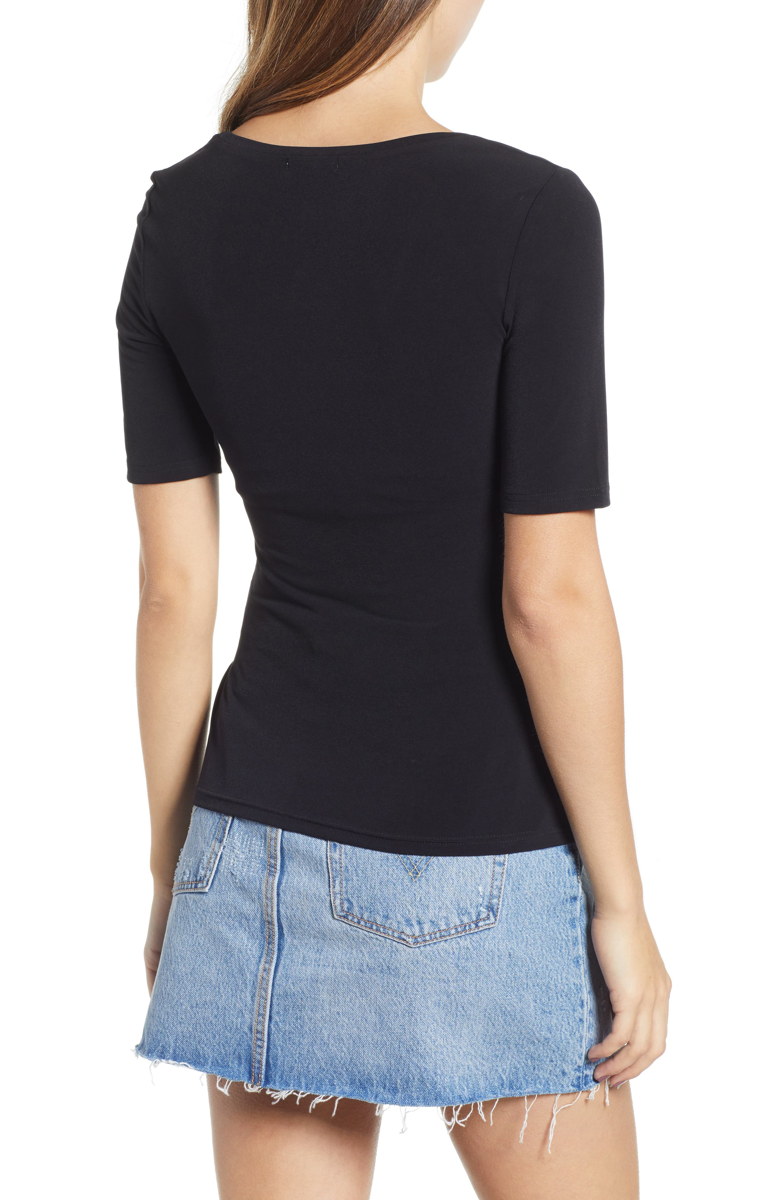 ,                             Ruched Side Tee,                             Alternate thumbnail 2, color,                             BLACK