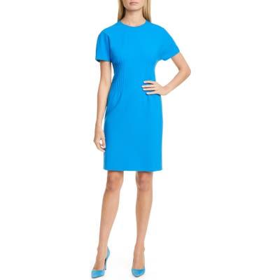 Petite Boss Dituck Pintuck Sheath Dress, Blue