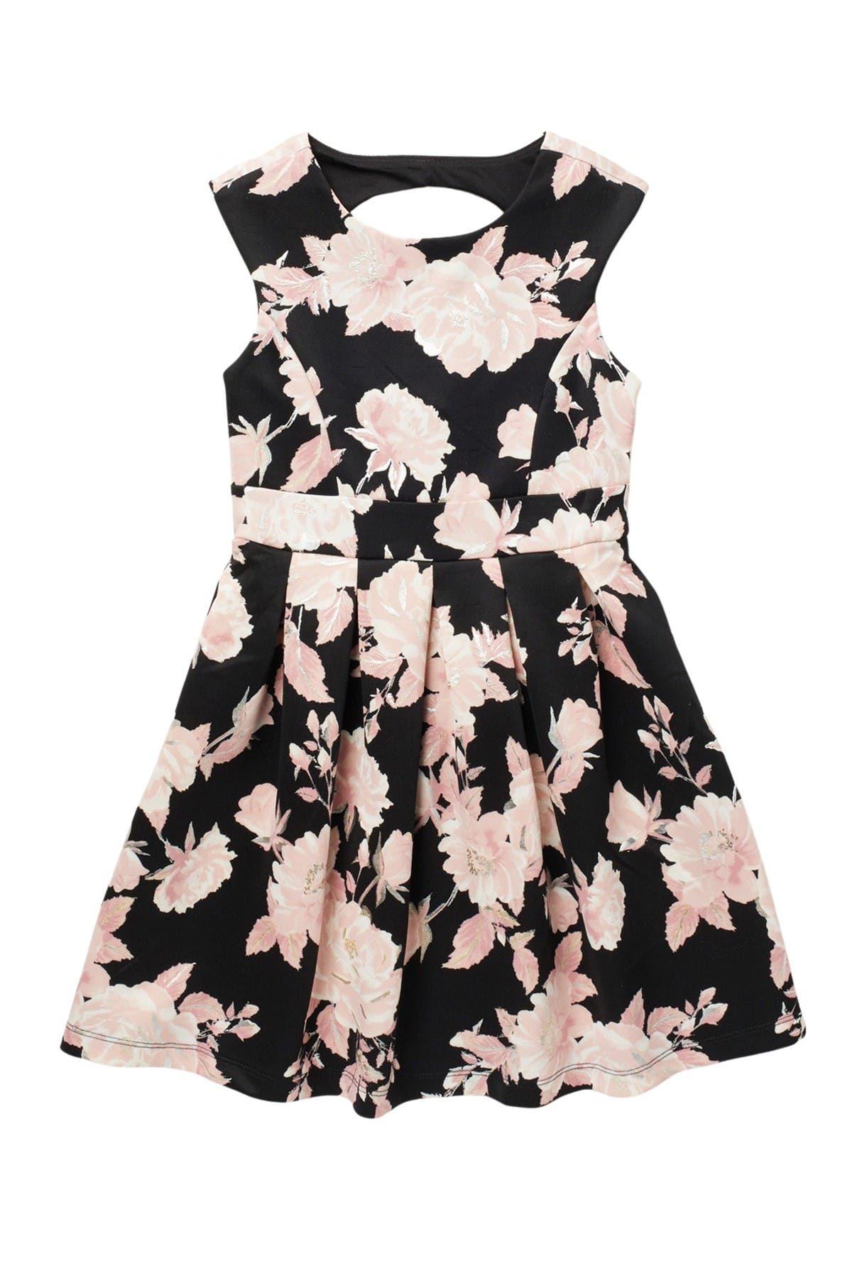 Image of Love, Nickie Lew Floral Foil Cap Sleeve Dress